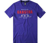 T-Shirt, Baumwolle, royalblau gemustert