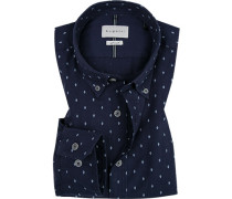 Hemd, Modern Fit, Twill, navy gemustert