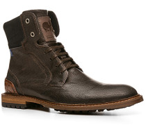 Herren Schuhe Stiefeletten Kalbleder dunkelbraun gemustert braun,braun