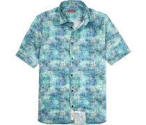 Hemd Modern Fit Popeline -blau gemustert