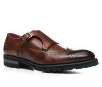 Schuhe Monkstrap Leder testa di moro