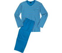 Schlafanzug Pyjama Baumwolle hellblau-weiß gestreift