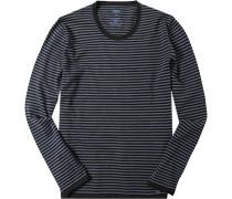 Herren Pullover Pulli Woll-Mix blau gestreift