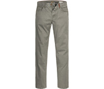 Blue-Jeans Straight Fit Baumwoll-Stretch khaki