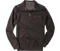 Herren Pullover Troyer Baumwoll-Mix braun-schwarz gemustert