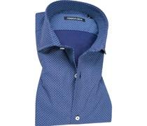 Herren Hemd Slim Fit Popeline blau-weiß gemustert