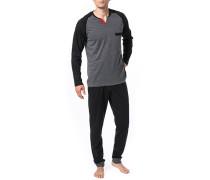 Schlafanzug Pyjama, Baumwolle, meliert