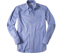 Herren Hemd Regular Fit Oxford dunkelblau kariert