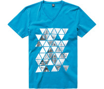 T-Shirt Baumwolle petrol gemustert