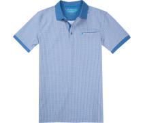Polo-Shirt Polo Slim Fit Baumwoll-Pique hellblau-weiß gemustert