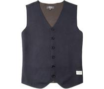 Pullover Weste Baumwolle nachtblau-braun