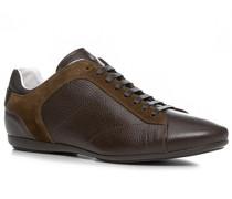 Herren Schuhe Sneaker Kalbleder schokobraun braun,weiß