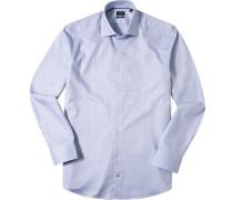 Herren Hemd Modern Fit Strukturgewebe weiß-blau gemustert