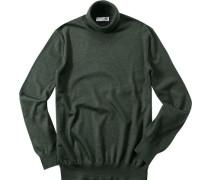 Pullover Merinowolle dunkelgrün meliert