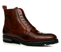 Schuhe Schnürstiefeletten, Leder, terra