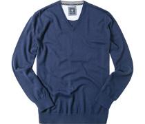 Pullover Schurwolle-Baumwolle tintenblau