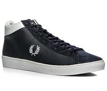 Sneakerschuh Velours-Glattleder navy