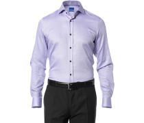 Herren Hemd Slim Fit Strukturgewebe violett-weiß gemustert
