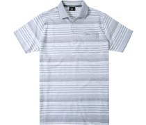 Polo-Shirt Polo Baumwoll-Leinen-Jersey -weiß gestreift