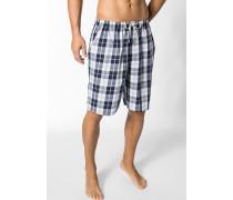 Schlafanzug Pyjamashorts Baumwolle weiß-nachtblau kariert