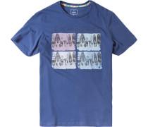 T-Shirt Baumwolle marine gemustert