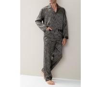 Schlafanzug Pyjama Seide braun-