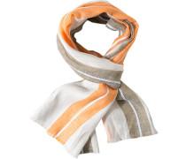 Herren  Schal Leinen offwhite-orange gestreift weiß