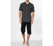 Schlafanzug Pyjama Baumwolle schwarz- meliert