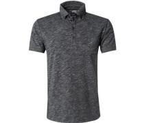 Herren Polo-Shirt Polo Baumwoll-Jersey anthrazit-weiß meliert grau