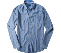 Hemd, Slim Fit, Baumwolle, jeansblau meliert