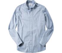 Oberhemd Regular Fit Flanell hellblau meliert