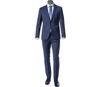 Anzug Slim Fit Schurwolle Super100 marine-royal meliert