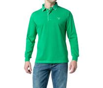 Herren Polo-Shirt Polo Baumwoll-Jersey grasgrün meliert