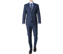 Anzug, Slim Fit, Schurwolle, navy-schwarz meliert