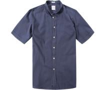 Herren Hemd Modern Fit Strukturgewebe marine blau