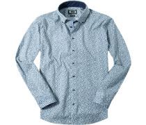 Herren Hemd Modern Fit Popeline blau gemustert