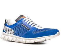 Herren Schuhe Sneakers Kalbleder-Textil-Mix royal-weiß blau,weiß
