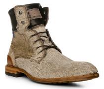 Schuhe Schnürstiefelette Kalbleder-Ponyfell sand