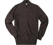 Pullover Troyer Schurwolle dunkelbraun