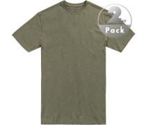 T-Shirts Regular Fit Baumwolle olivgrün meliert
