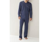 Schlafanzug Pyjama Baumwolljersey grau, navy oder hellblau