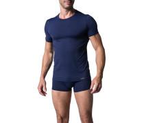 Herren T-Shirt Microfaser marine kariert blau