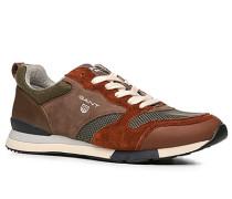 Herren sportlicher Schuh Leder-Textil rotbraun-grün gemustert rot,grau