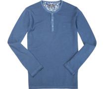 Pullover, Leinen-Baumwolle, jeansblau