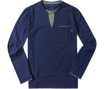 T-Shirt Longsleeve, Slim Fit, Baumwolle, navy