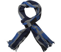 Herren  Schal Wolle blau-grau kariert blau,grau
