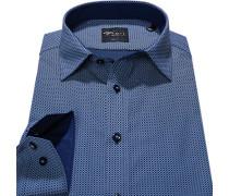 Herren Hemd Body Fit Popeline marine gemustert blau