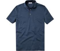 Herren Polo-Shirt Polo Strukturgewebe blau gemustert