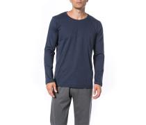 Schlafanzug Longsleeve Baumwolle meliert