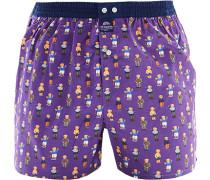 Herren Unterwäsche Boxershorts Baumwolle lila-dunkelblau gemustert violett